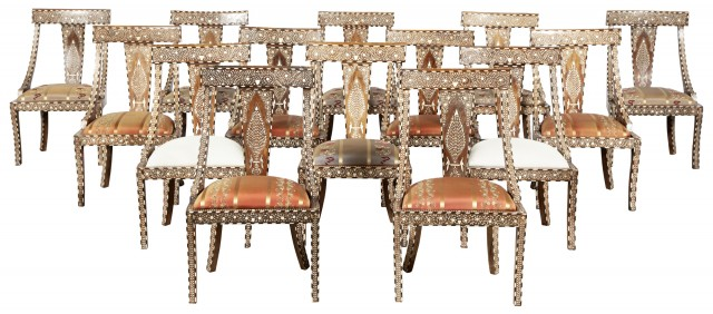 Set of Fourteen Anglo-Indian Style Bone Inlaid Wood Side Chairs