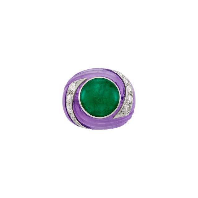 Carved Amethyst, Cabochon Emerald, Platinum and Diamond 'Tourbillon' Ring, Suzanne Belperron