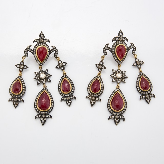 Pair of Indian Silver, Gold, Ruby and Diamond Girandole Pendant-Earrings