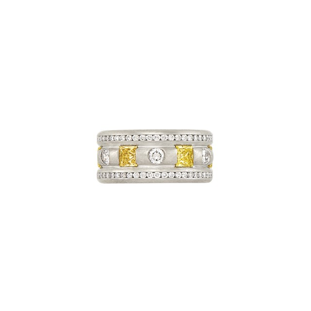 Platinum, Yellow Diamond and Diamond Band Ring, by Whitney Boin