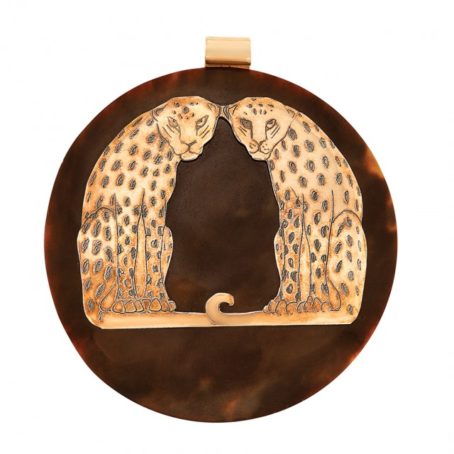 Tortoise Shell and Rose Gold Panther Pendant, Celia Sebiri