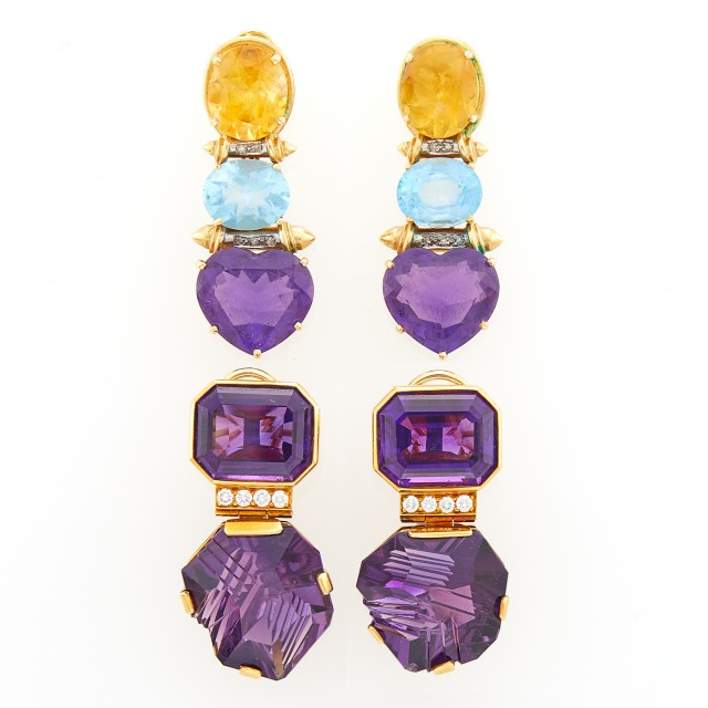 Julius Cohen Pair of Gold, Carved Amethyst and Diamond Pendant-Earclips and Multicolored Stone Pendant-Earrings