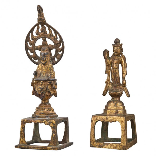 Two Chinese Gilt-Bronze Buddhist Figures