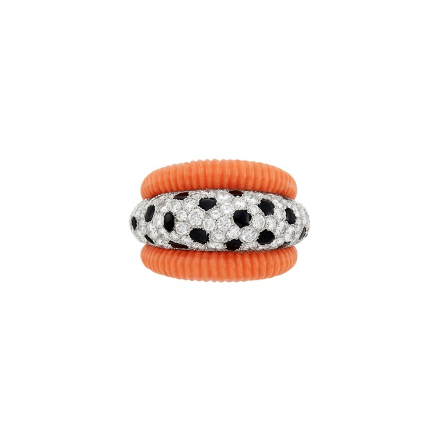 Platinum, Fluted Coral, Black Onyx and Diamond Bombé Ring, Cartier