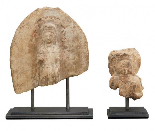 Two Marble Buddhist Figural Fragments