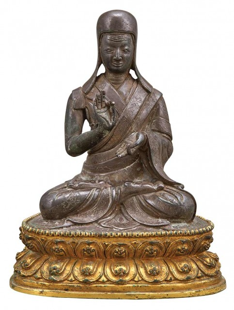 Sino-Tibetan Parcel Gilt-Bronze Figure of a Monk