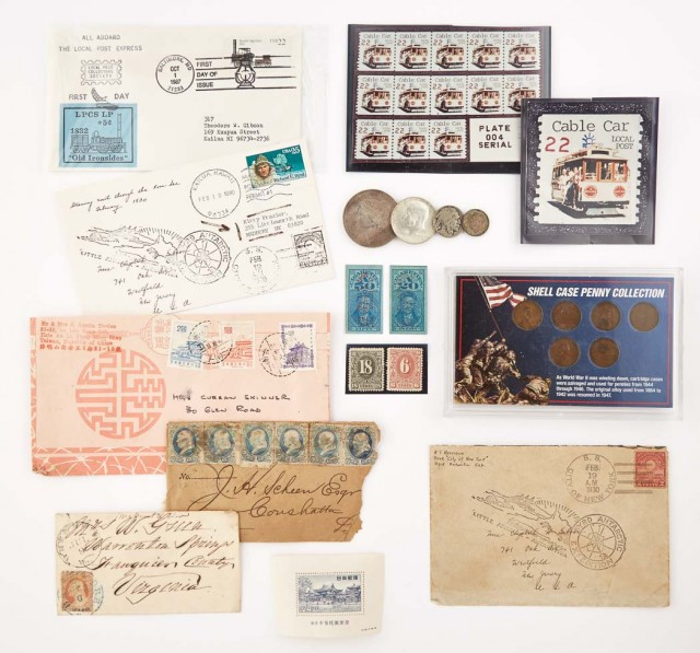 World Wide Mixture of Stamps, Coins and Bank Notes