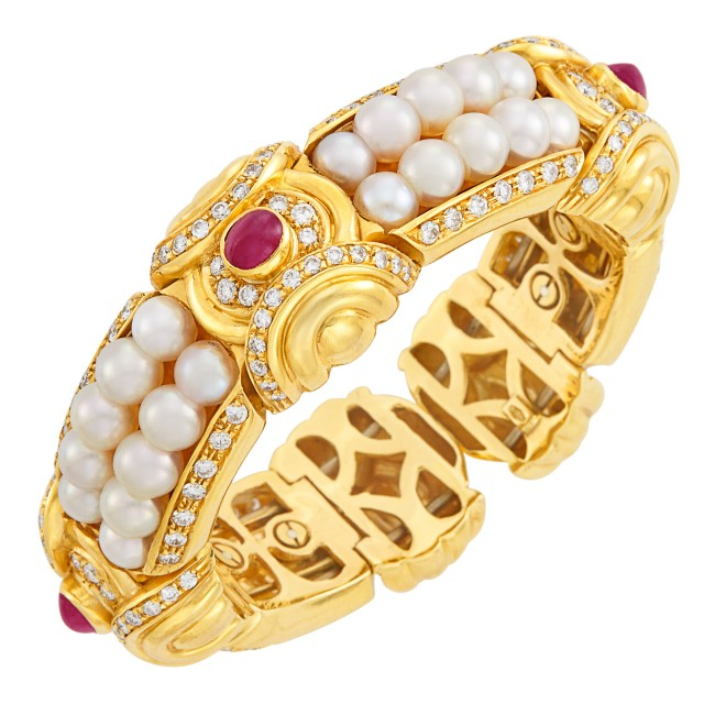 Gold, Cultured Pearl, Cabochon Ruby and Diamond Bangle Bracelet