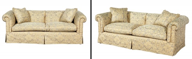 Pair of Fortuny Fabric-Upholstered Two-Cushion Sofas