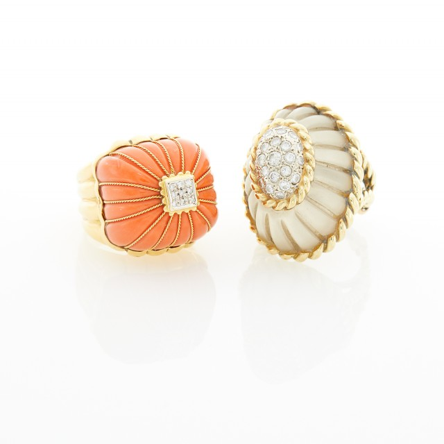 Gold, Coral and Diamond Dome Ring and Frosted Rock Crystal and Diamond Dome Ring