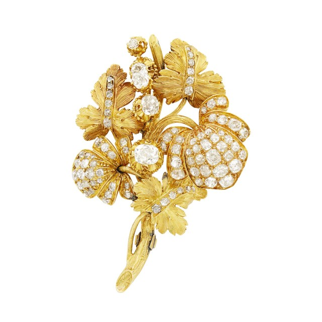 Antique Gold and Diamond Floral Brooch
