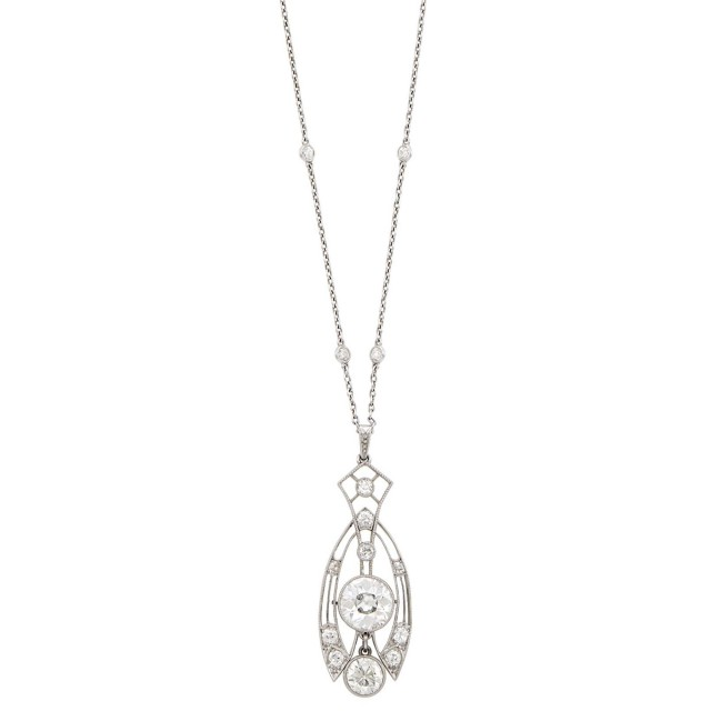 Platinum and Diamond Filigree Pendant with Platinum and Diamond Chain Necklace