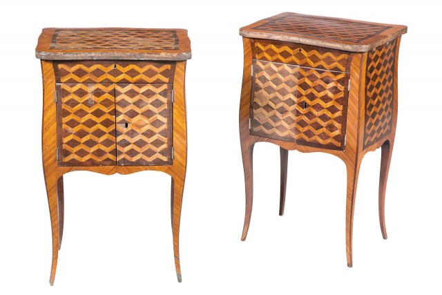 Pair of Louis XV/XVI Style Tulipwood and Kingwood Occasional Tables
