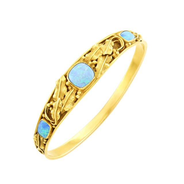 Art and Crafts Gold and Opal Bangle Bracelet