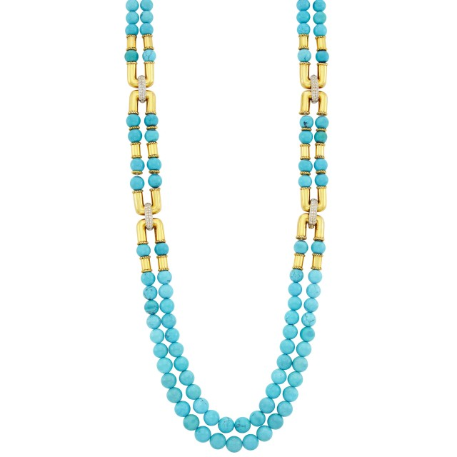 Long Double Strand Turquoise Bead, Gold and Diamond Necklace