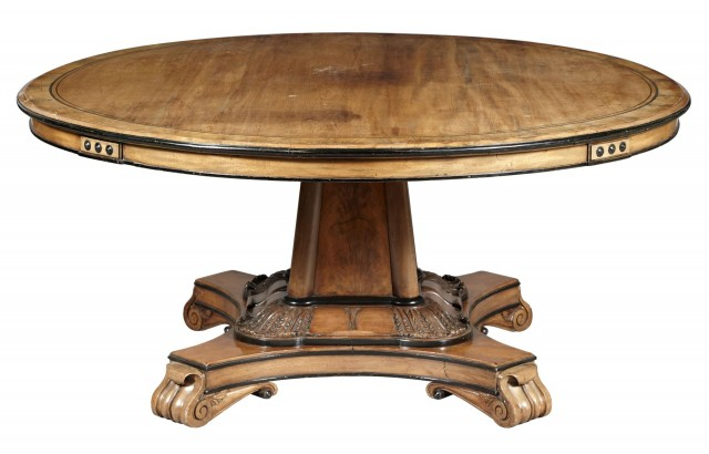 George IV Mahogany, Ebony-Inlaid and Part-Ebonized Center Table