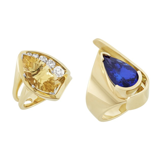 Two Gold, Tanzanite, Yellow Beryl and Diamond Rings, Trisko