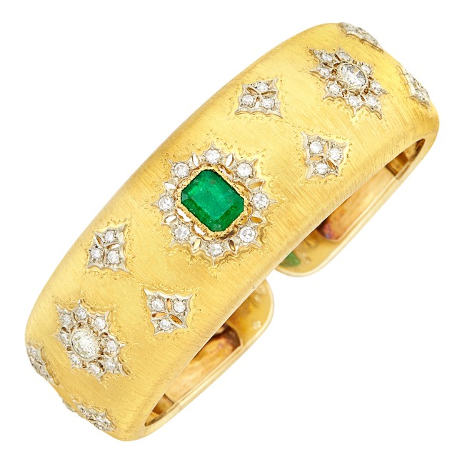 Two-Color Gold, Emerald and Diamond Bangle Bracelet, Buccellati