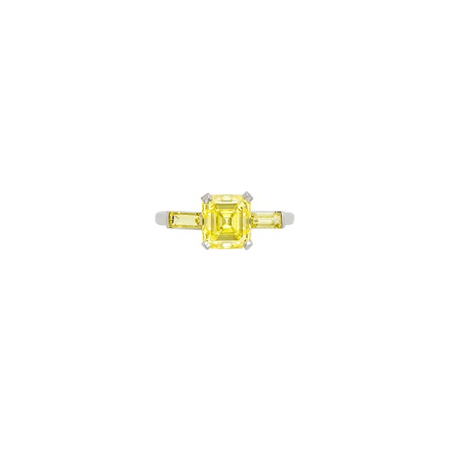 Platinum, Fancy Vivid Yellow Diamond and Diamond Ring, J.E. Caldwell and Co.