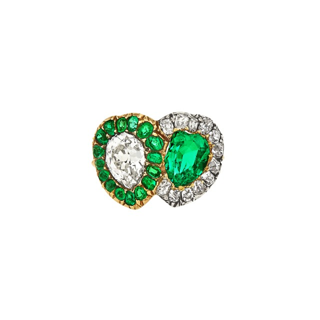 Antique Gold, Silver, Emerald and Diamond Double Heart Ring