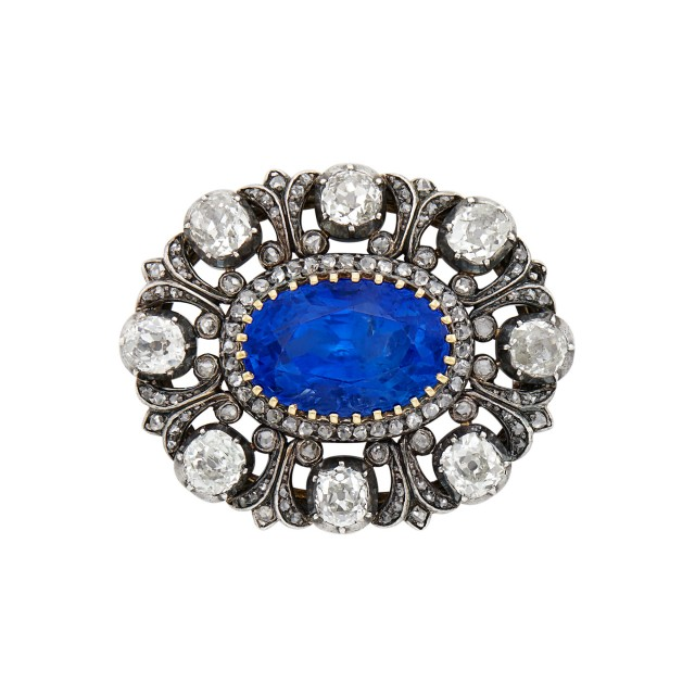Antique Silver, Gold, Sapphire and Diamond Brooch, Wordley, Allsopp and Bliss