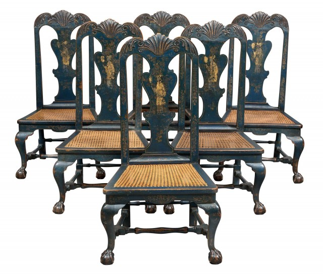 Set of Six Blue Continental Blue-Japanned and Parcel-Gilt Caned Side Chairs