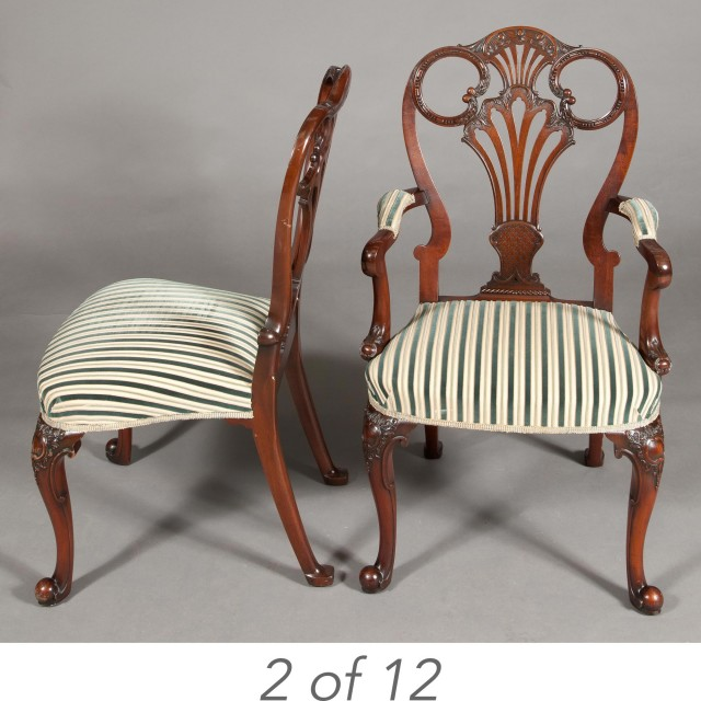 Set of Twelve George II Style Mahogany Dining Chairs