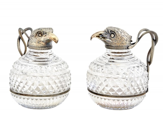 Pair of George III Sterling Silver-Gilt Mounted Cut Glass Claret Jugs