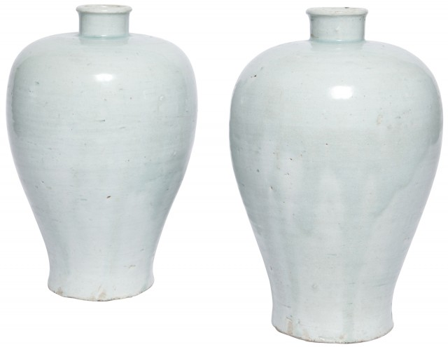 Two Exceptionally Rare Chinese Glazed Qingbai Ware Vases
