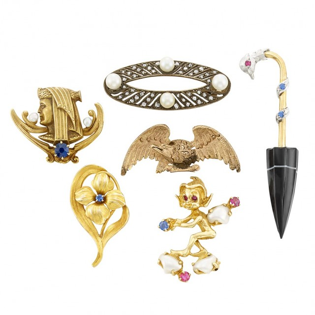 Six Gold, Low Karat Gold, Silver and Gem-Set Pins