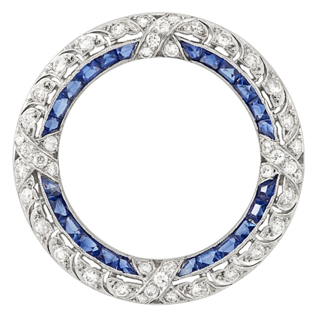 Edwardian Platinum, Diamond and Sapphire Circle Pin, Tiffany & Co.