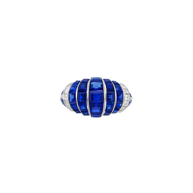 Platinum, Sapphire and Diamond Bombé Ring, Cartier, London