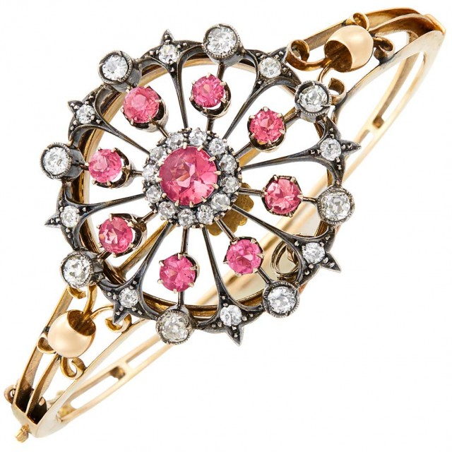 Antique Gold, Silver-Topped Gold, Pink Tourmaline and Diamond Pendant-Bangle Bracelet Combination
