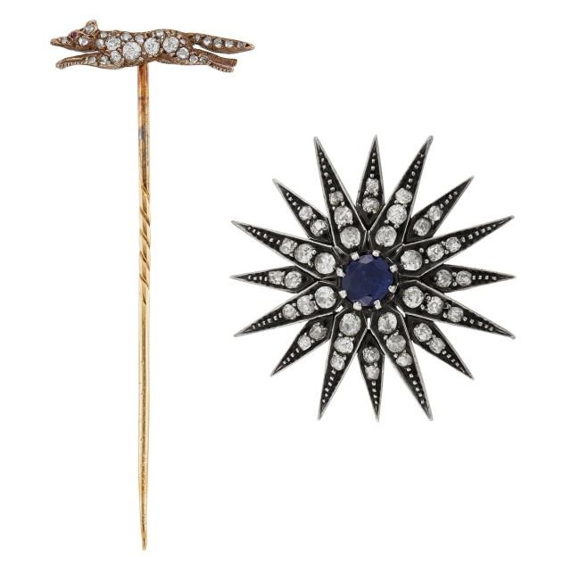 Antique Silver-Topped Gold, Diamond and Sapphire Starburst Pin and Fox Stickpin