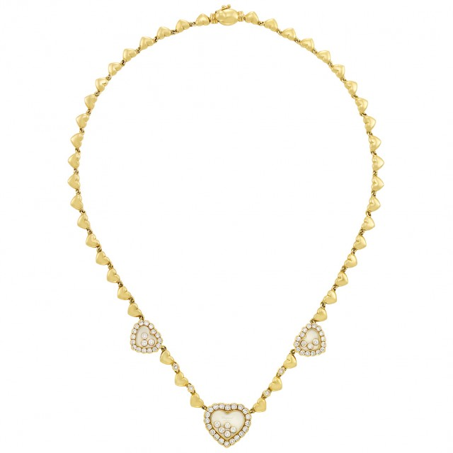 Gold, Crystal and Diamond 'Happy Diamond' Necklace, Chopard