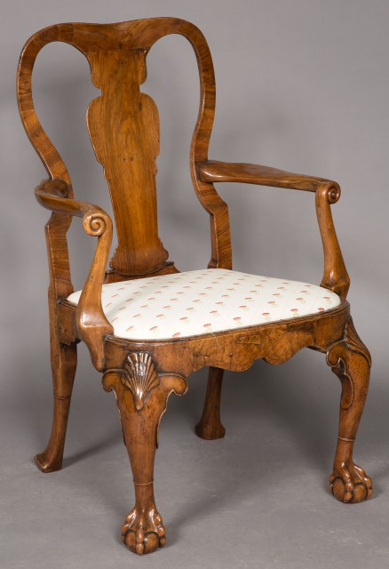 George II Walnut Armchair in the Manner of William Hallett