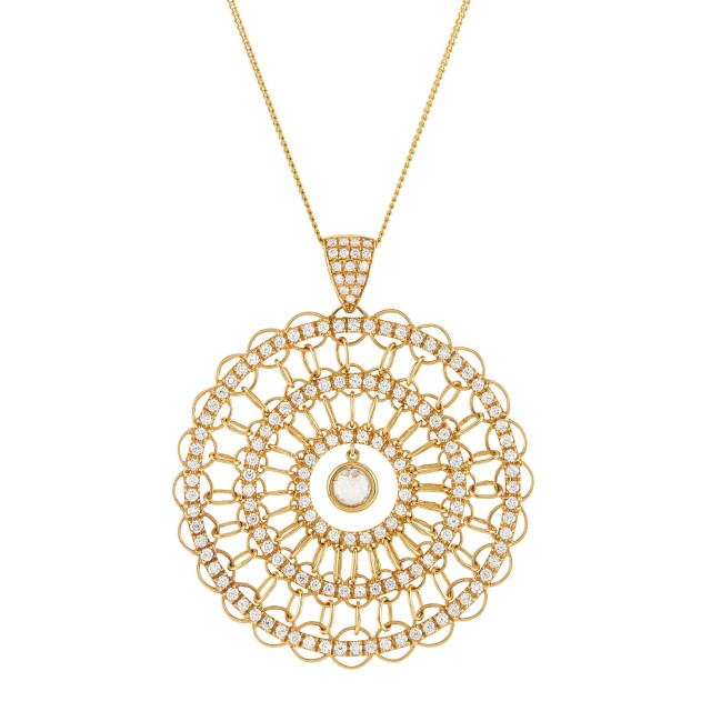 Gold and Diamond Pendant with Chain