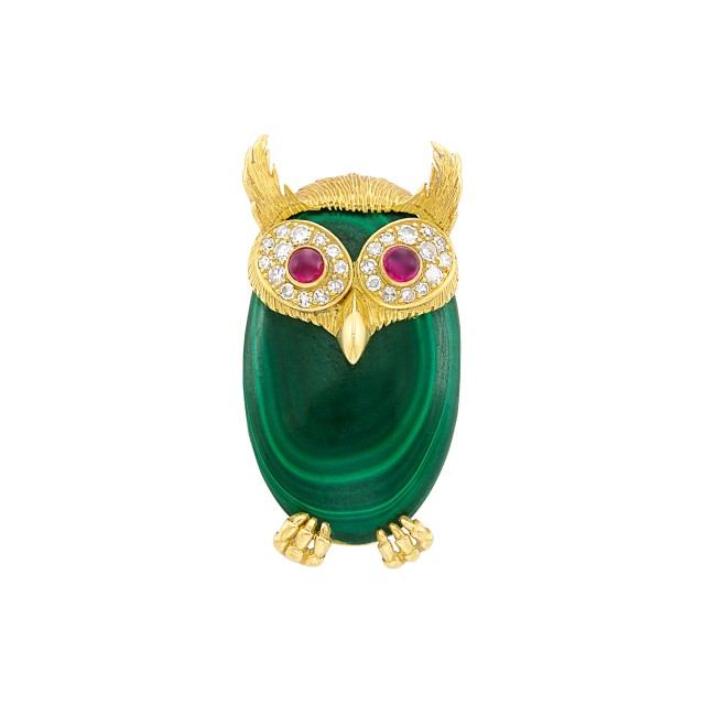 Gold, Malachite, Diamond and Cabochon Ruby Owl Clip-Brooch