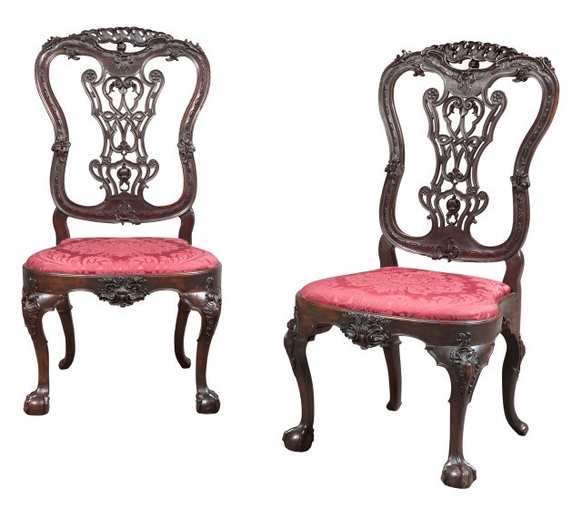 Pair of Portuguese Rococo Walnut Side Chairs