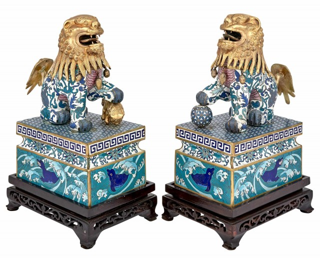 Pair of Chinese Cloisonne Lions