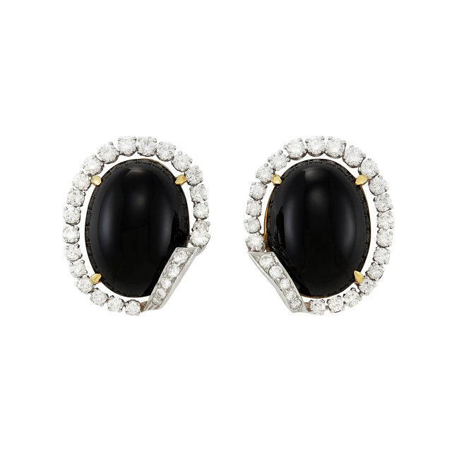 Pair of Platinum, Gold, Black Onyx and Diamond Earclips
