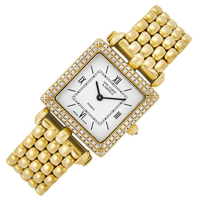 Gold and Diamond 'Classique' Wristwatch, Van Cleef and Arpels