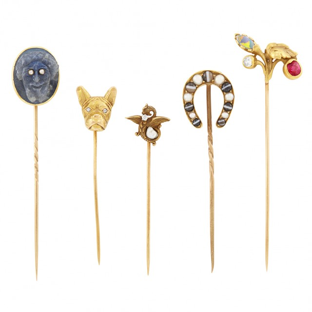 Five Antique Gold, Diamond and Colored Stone Stickpins