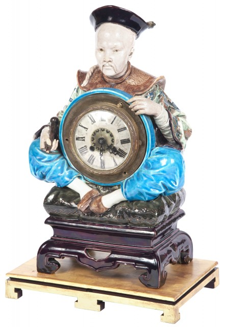 French Faience Figural Clock by Jules Vieillard and Cie, Bordeaux