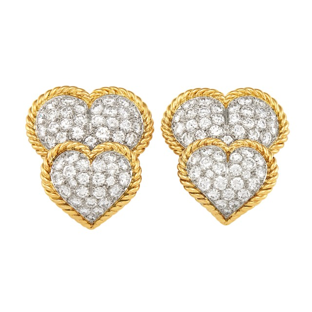 Pair of Gold, Platinum and Diamond Double Heart Earrings, Van Cleef and Arpels