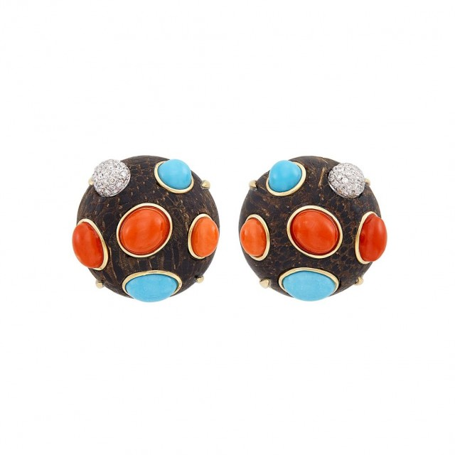 Pair of Two-Color Gold, Wood, Turquoise, Coral and Diamond Earclips