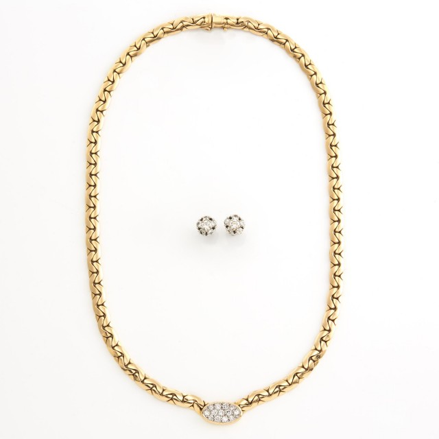 Gold and Diamond Curb Link Chain Necklace and Pair of White Gold and Diamond Earrings