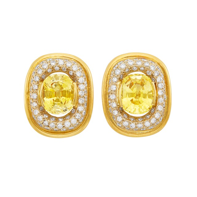 Pair of Gold, Yellow Sapphire and Diamond Earclips