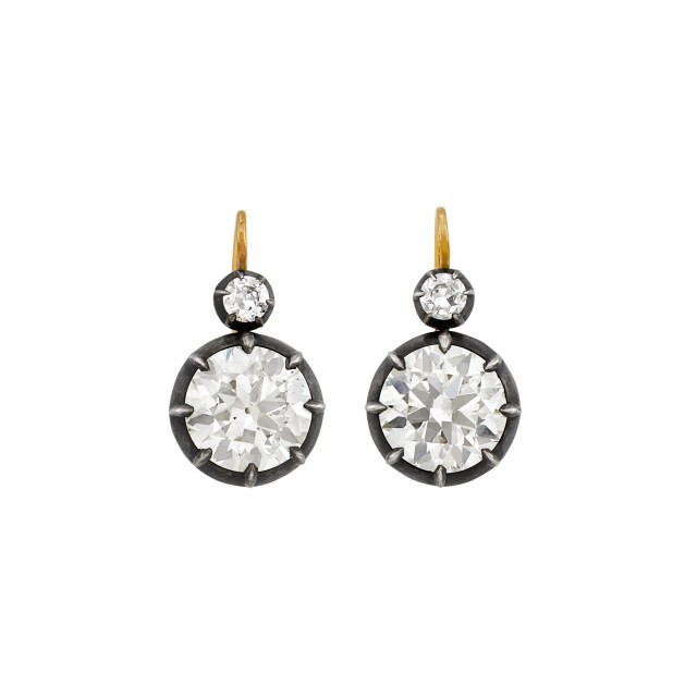 Pair of Silver, Gold and Diamond Earrings
