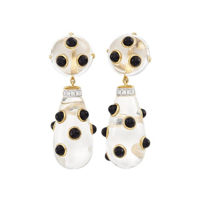 Pair of Gold, Rock Crystal, Black Onyx and Diamond Pendant-Earclips